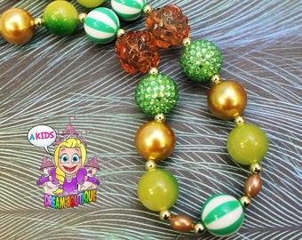 Girls necklace green brown Gold necklace chunky bubblegum necklace costume jewelry bead necklace
