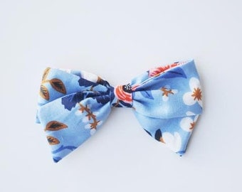 Large Pippi Bow in Rifle Paper Fabric - Aurora - Available on one size fits all nylon elastic or a clip