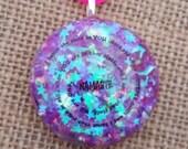 Orgone Energy NAMASTE Glittery Orgone Pendant Galaxy Necklace Festival Jewelry Yoga
