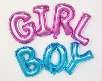 GIRL Balloon or BOY Balloon - Pink Girl or Blue Boy Balloons Letter Balloon Party Ballon ( New Baby Birthday Party Decor Balloon Supplies )