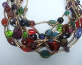Dramatic Glass Beaded Gilt Metal Statement Necklace