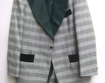 Mens Vintage Green Plaid Dress Jacket c 1970s