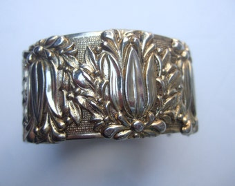 Wide Repousse Gilt Metal Hinged Cuff Bracelet