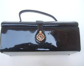 Mod Black Patent Vinyl Box Style Handbag c 1960