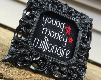 Mini Black Baroque Framed Cross Stitch - Lil' Wayne (A Millie) - Young Money Millionaire