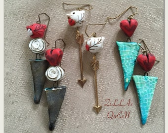Handmade Valentine Raku Triangle Bird Heart Rose ArrowStatement Earrings Jewelry by ZILLAS QUEEN