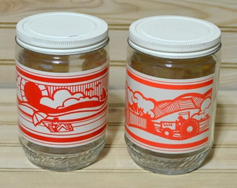 Vintage Anchor Hocking Summer Fall Season Glass Jars Metal Screw Tops Beach Farm Scene Kitchen Storage Containers Canisters Set of 2