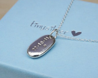 Personalised Silver Pebble Necklace - Sterling Silver