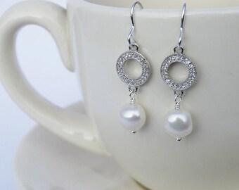 Silver, White Topaz & Pearl Drop Earrings - Sterling Silver