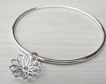 Silver Flower Bangle - Sterling Silver