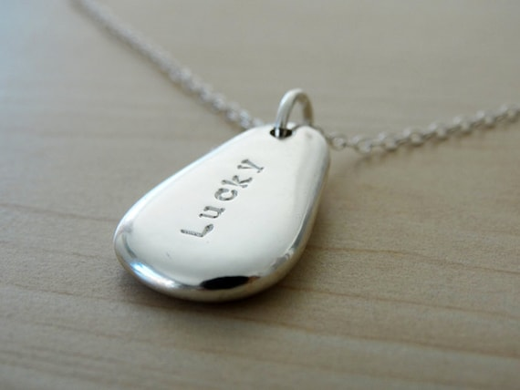 Personalised Silver Pebble Necklace - Large - Sterling Silver