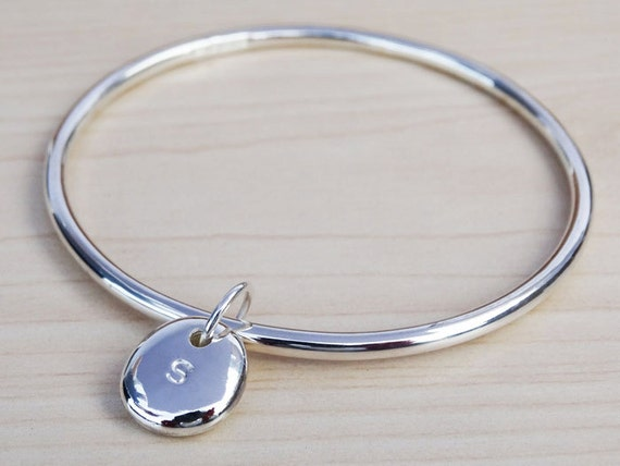 Solid Silver Bangle & Personalised Initial Pebble - Sterling Silver