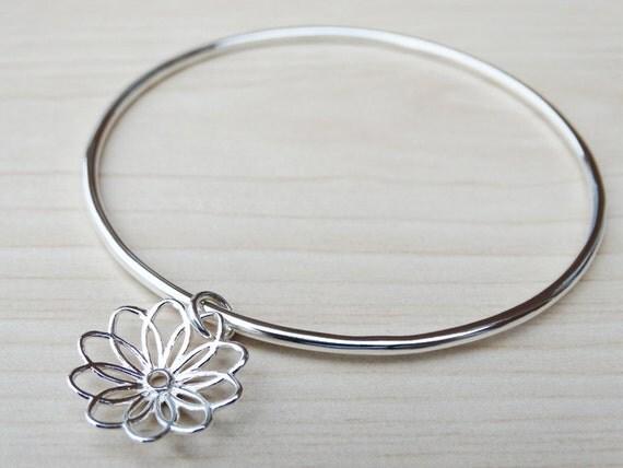 Silver Flower Bangle - Sterling Silver