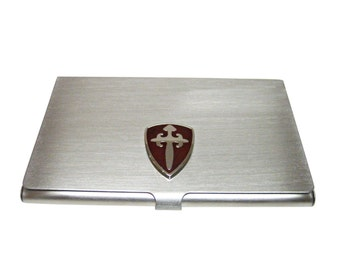 Brown Medieval Shield Business Card Holder