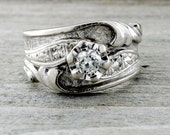 Vintage Solitaire Diamond Anniversary Engagement Ring Art Noueau 14k White Gold
