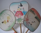 Vintage Set of 3 Asian Painted Silk Fans