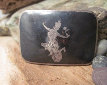 Vintage Sterling Niello Belt Buckle Made in Siam