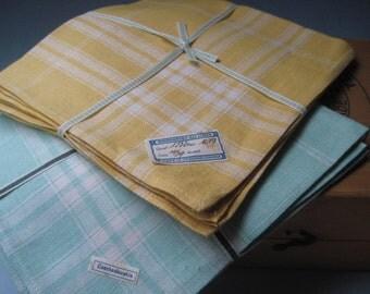 Vintage Set of 6 Yellow and Green Linen Napkins Czechoslovkia