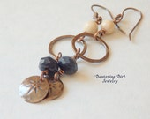 RESERVED: Custom Listing for JHF--Dumortierite Gemstone Earrings with Riverstone, Caramel Glass Disk, and Patterned Copper
