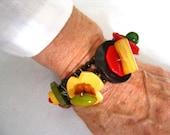 SALE Bakelite & Celluloid Button Stack Bracelet.  Sterling Findings.   3-Strand Black Glass 4 mm Round Bead Foundation.  Vintage Artisan.
