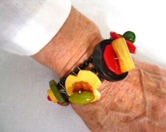 Bakelite Button Stack Bracelet. Sterling Ends, Chain, Clasp.  3-Strand Jet Black Glass 4 mm Round Bead Bracelet Foundation. Vintage Artisan