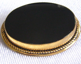 "DANECRAFT 12k Gold Filled Oval Brooch has hig Bezel and Wire Twist Accent where Bezel meets Frame.  1-1/8"" x 7/8""."