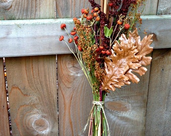 Dried Fall Decoration -  Fall Special Thanksgiving Decor - Orange Baby's Breath, Rose Hip, Cattail, Oak & Dock