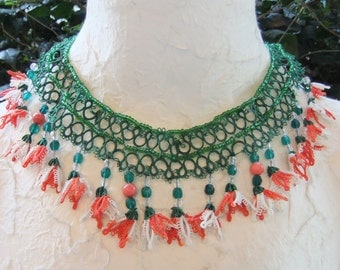 Green-Red-White Tatting Lace-Coral-Crystal & Bead Necklace