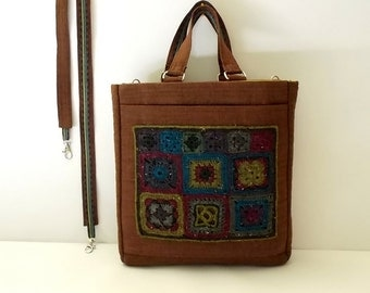 Granny Square Purse, Shoulder, Cross-body Bag, Crochet, Wool, Quilted Linen