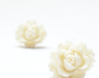 White Flower Earrings, Ivory Posts, Resin Blossom Earrings