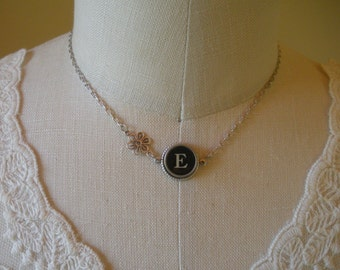 Typewriter Key Necklace with Flower--Your Choice of Letter--