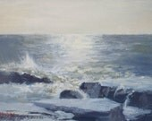 Framed landscape oil painting - Rough Waters on Lake Superior