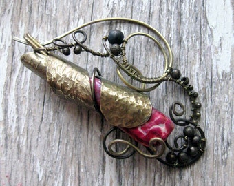Whimsical Wire Wrapped Brass Shawl pin, Winter Jewelry Accessories, Knnitting accessories, pink brooch