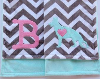 German Shepherd Baby Blanket, German Shepherd Minky Blanket, Monogrammed Minky Crib Blanket, Chevron Crib Blanket