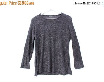 10,000 LIKES 7 Day Sale 90s Minimal Fuzzy Glitter Textured Metallic Fitted Long Sleeve Sweater Top