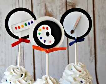 Little Artist Birthday Party Cupcake Toppers (set of 12)
