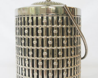 Vintage Silver Bamboo Ice Bucket with Lid