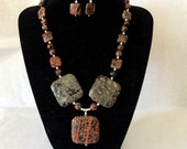 Mexican Red Snowflake Jasper with Sterling Silver Necklace and Earring Set -- One of a Kind
