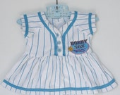 Vintage white and blue Bobby Sox baseball baby dress