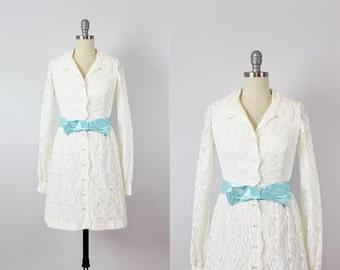 vintage 60s dress / 1960s white lace mini dress / 60s mod wedding dress / short white lace dress / lace shirt dress