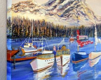Mt. Rainier Washington, Pacific Northwest Art, Fishing Boats, Nautical Art, Snowy Mountains, Dan Leasure Original Oil