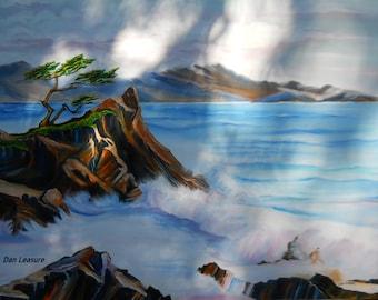 Carmel California, Monterey Oil, Pacific Ocean Art, California Resort Art, Large Oil 40x 31, Monterey Cypress, Dan Leasure
