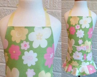 Toddler Floral Ruffled Apron - Can be Personalized, Free Shipping, Made in The USA, pink green yellow