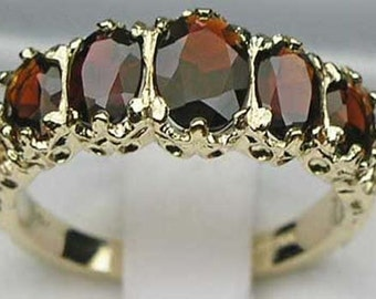 English 9K Yellow Gold Genuine Natural Garnet 5 Stone Half Eternity Ring, Antique Style 5 Stone Carving Ring - Customizable