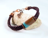 Leather bracelet braided teal and brown