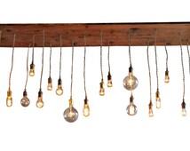 Rustic Industrial Chandelier - Repurposed Lighting, Bare Bulb Chandelier Edison Bulbs
