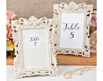 Ivory Table Number Frames 10 Set - Size 4 x 6 - Gold Leaf Ornate Picture Frame - Wedding Favors Party Favor Victorian Bridal Shower