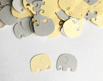 Baby Shower Confetti - Elephant  Confetti - Yellow and Gray