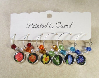 Rainbow Flower Wine Charms
