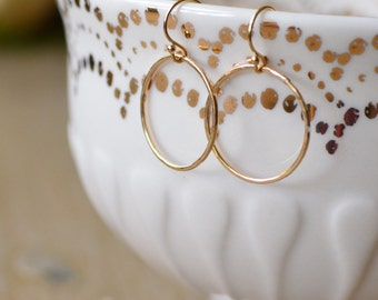 Gold Filled Hammered Circle Earrings // Minimalist // Dainty // Everyday Earrings